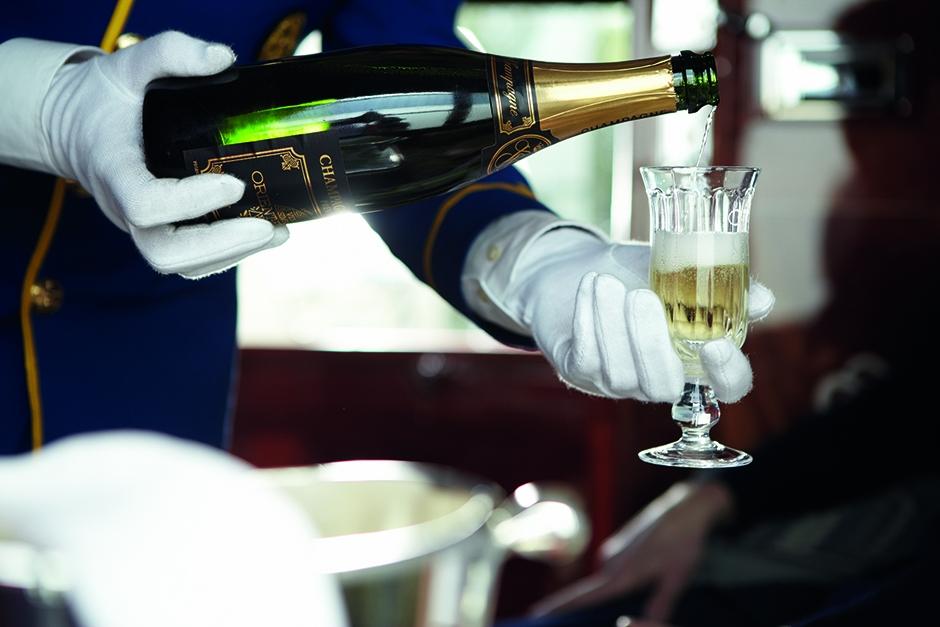 champagne on the Belmond Venice-Simplon Orient-Express luxury train